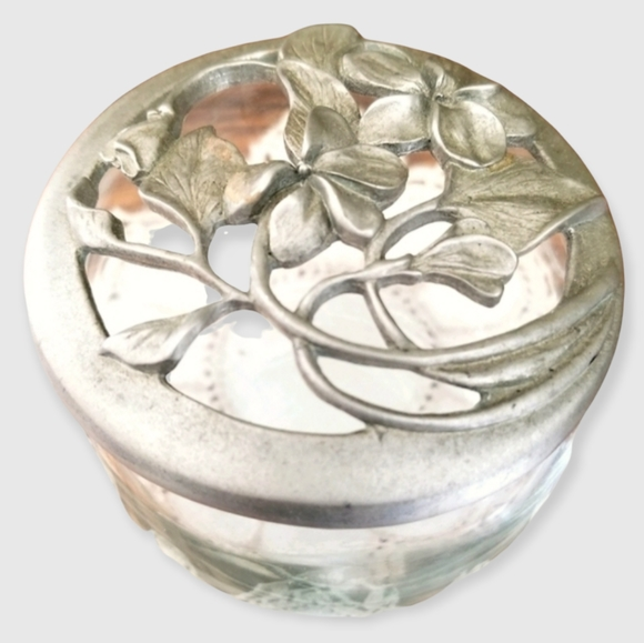 Vintage Elegant 1990s Floral Pewter Boudoir Glass Powder Jar
